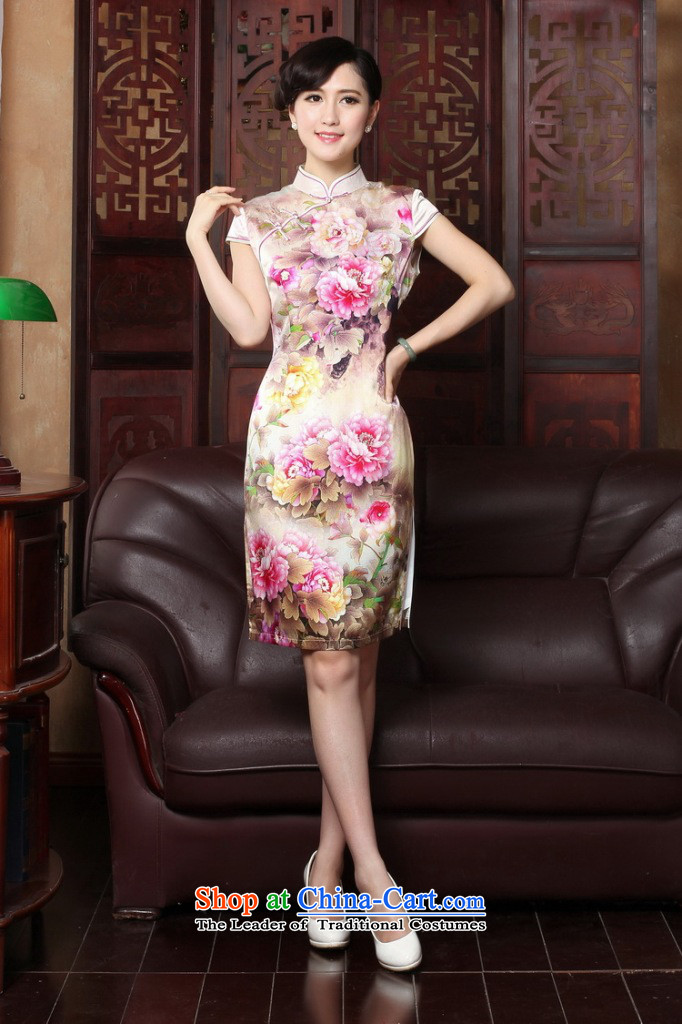 Dan smoke summer new Tang dynasty cheongsam dress herbs extract retro Silk Cheongsam country color Tianxiang short-sleeved gown figure color qipao聽L picture, prices, brand platters! The elections are supplied in the national character of distribution, so action, buy now enjoy more preferential! As soon as possible.