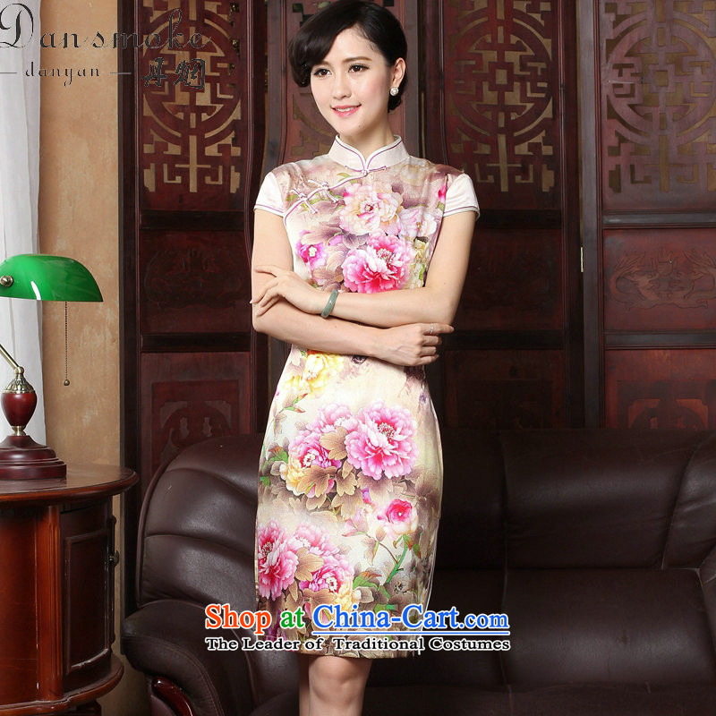 Dan smoke summer new Tang dynasty cheongsam dress herbs extract retro Silk Cheongsam country color Tianxiang short-sleeved gown figure color cheongsam聽,L,Dan Smoke , , , shopping on the Internet
