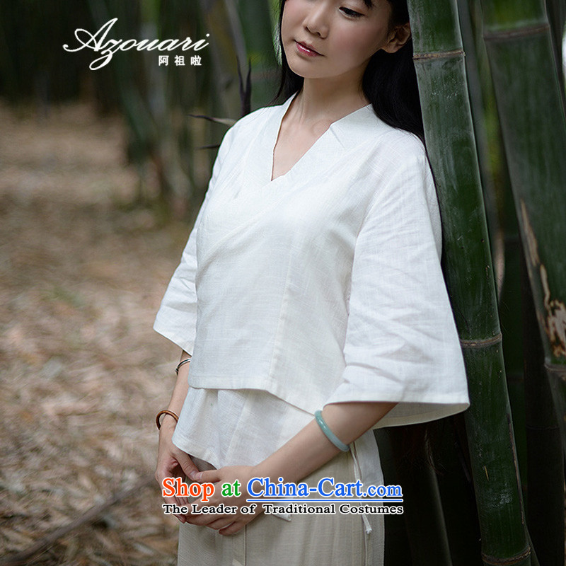 Azzu (azouari) defense of ethnic spring female cotton linen irrepressible short, loose cardigan shirt Han-white shirts are code
