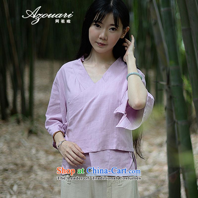 Azzu (azouari) defense of ethnic spring female cotton linen irrepressible short, loose cardigan shirt Han-white shirts are code, AZOUS AZOUARI () , , , shopping on the Internet