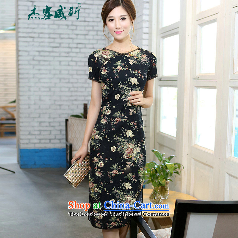 C.o.d. Jie of the spring and summer female retro elegant cotton linen collar features a field manual detained in Sau San short-sleeved long round-neck collar qipao suit Mudan memory聽XL