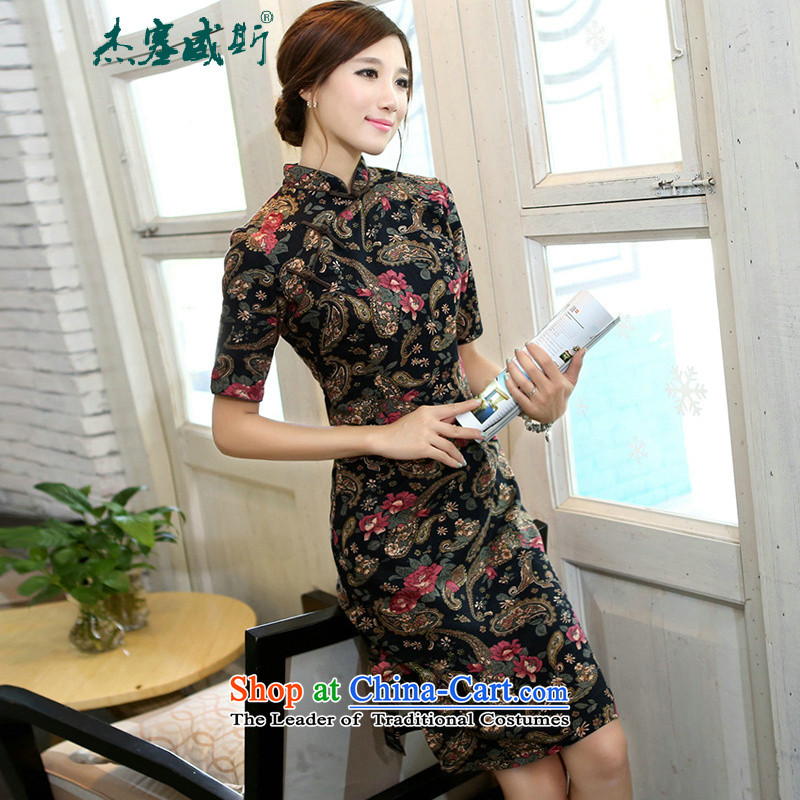 C.o.d. Jie of the spring and summer Women's clothes improved in collar lining in the cuff has long cotton linen word manually detained qipao cashew flower Sau San燲L