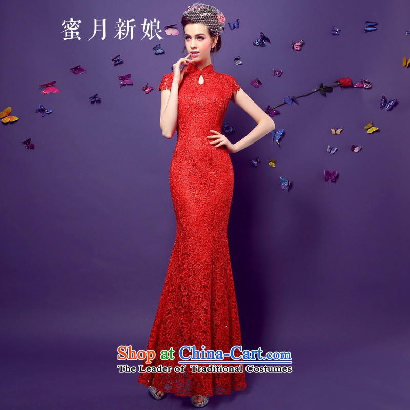 Honeymoon bride? 2015 new improved qipao gown brides long female lace marriage Sau San short-sleeved clothing red?S bows