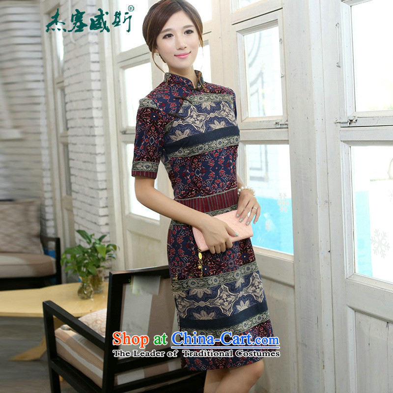 C.o.d. Jie of the spring and summer women elegant classical spell color improved collar lining in long cotton linen word manually detained qipao cheongsam dress classical spell color qipao?XL