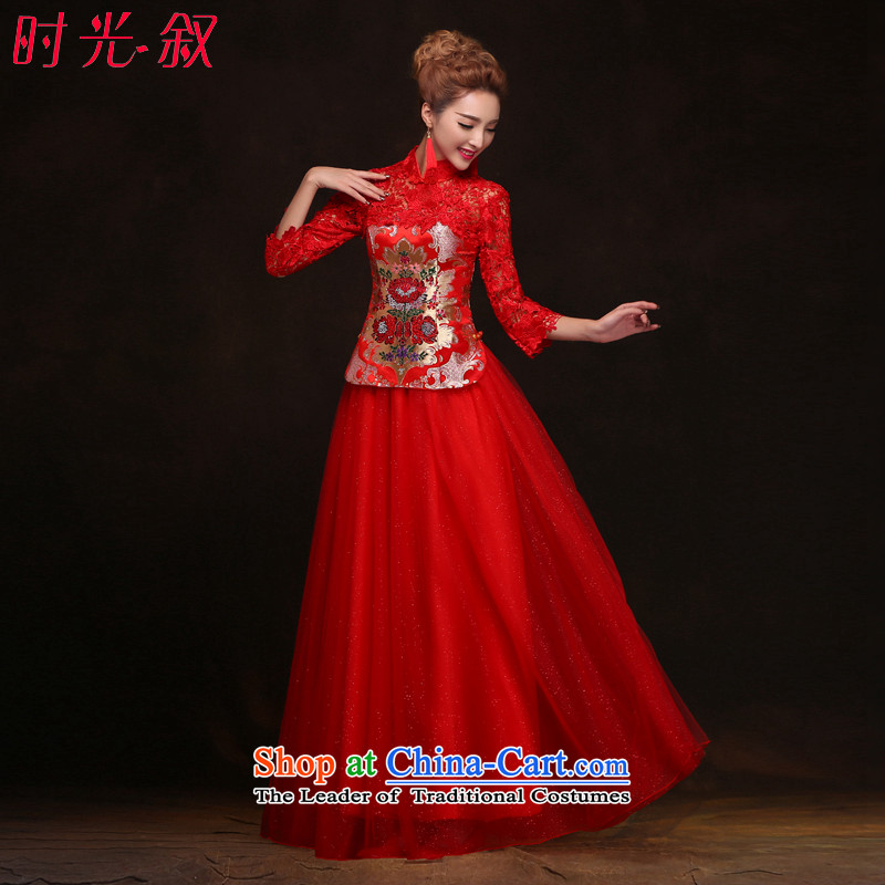 Time Syrian red improved long qipao?2015 new bride of autumn and winter clothing wedding dresses bows WYFC7006 XXL