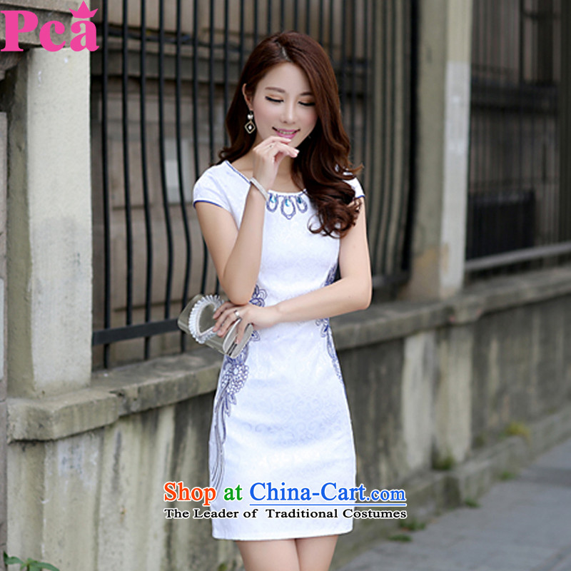 Pca Tang dynasty summer qipao new short, Improved Female cheongsam dress Sau San 521105 blue flowers?L