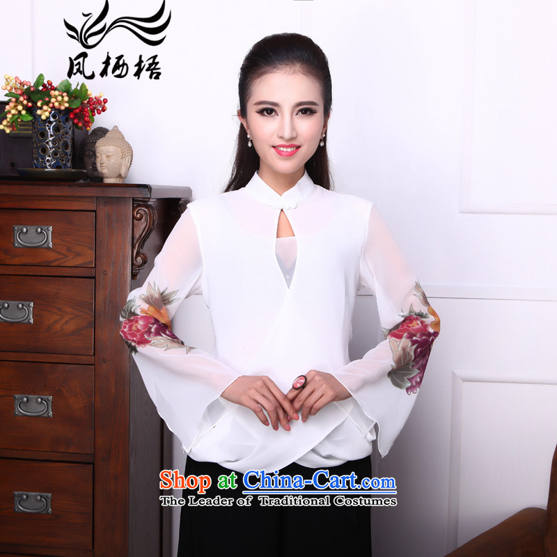 Bong-migratory 7475 Emily so a new summer 2015 stylish shirt qipao chiffon horn cuff Chinese T-shirt DQ1538 white S