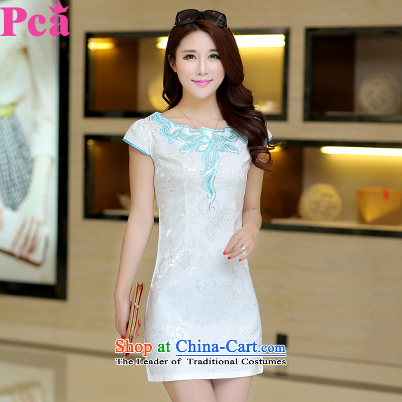 Pca2015 Spring Summer stylish Sau San short-sleeved qipao 521106 elegant improved White燲L