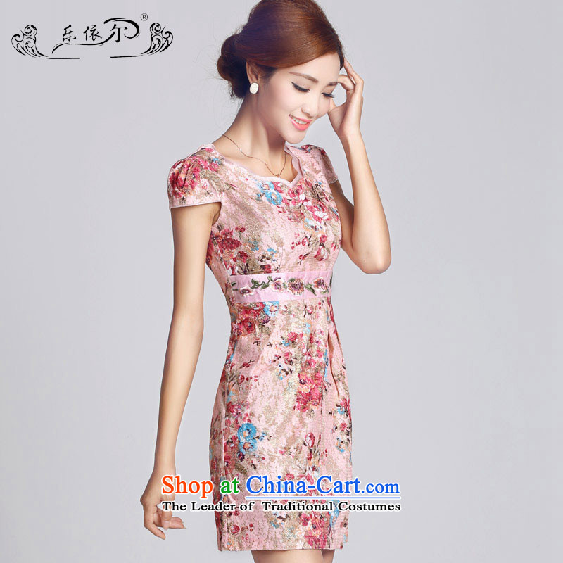 In accordance with the American Women's classical Ms. qipao Sau San spend a short skirt qipao embroidery LYE33306 pink s