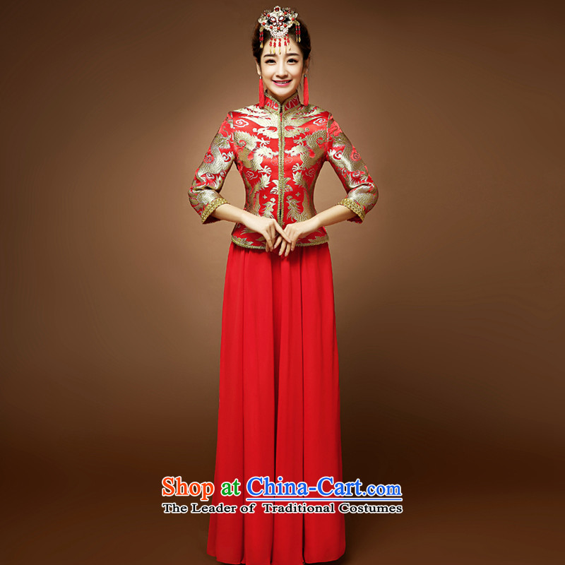 The privilege of serving the new 2015-Leung Chiu-red bride wedding dress Chinese long-sleeved qipao toasting champagne 7 Services Red燲L