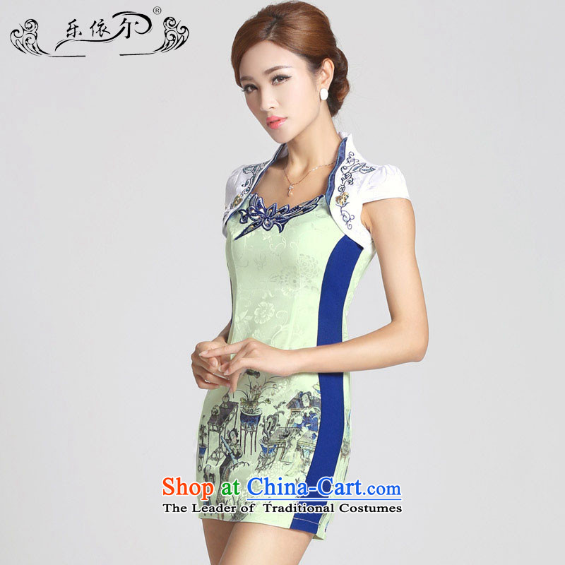 In accordance with the American female's skirt improved Stamp   qipao short of Qipao LYE66601 female white s