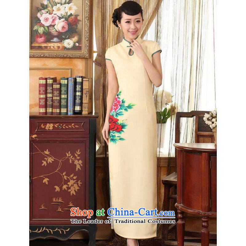 On optimizing the options of the Tang dynasty qipao Ms. Tianxiang cheongsam dress-color graphics thin elegance Sau San long qipao gown Yellow XL