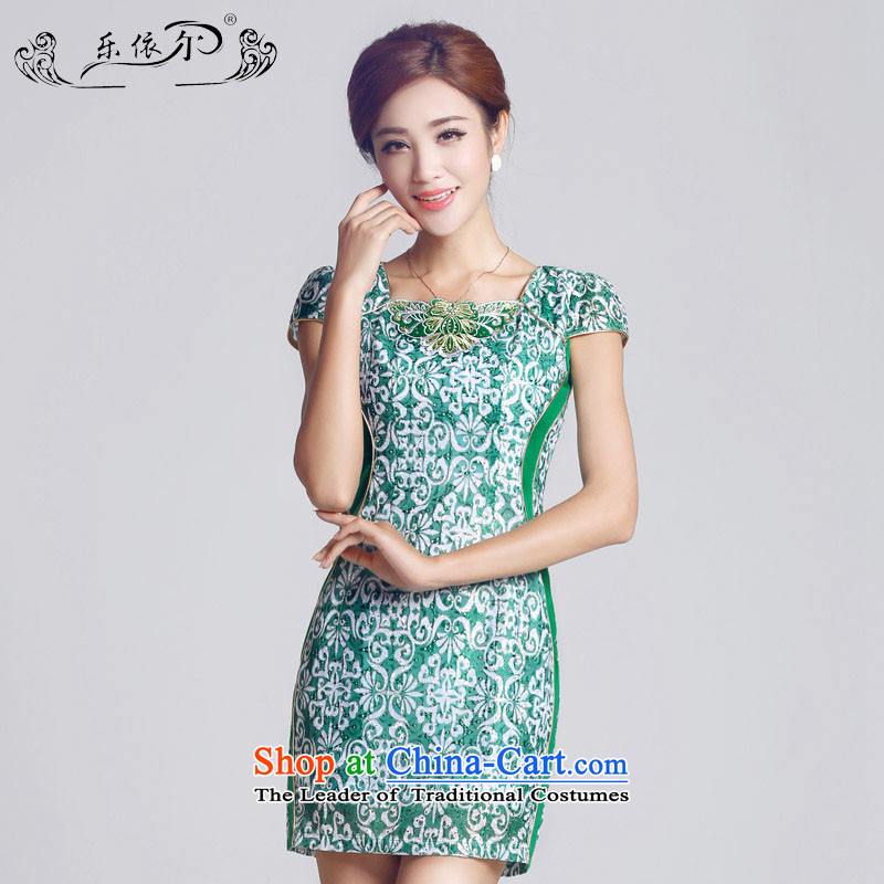 In accordance with the American female, embroidery, female qipao short blue cheongsam dress lady female LYE66603 GREEN XL