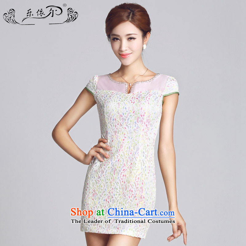 In accordance with the American female's new cheongsam lace pattern improved women's dress qipao short daily gentlewoman LYE66605 white?s
