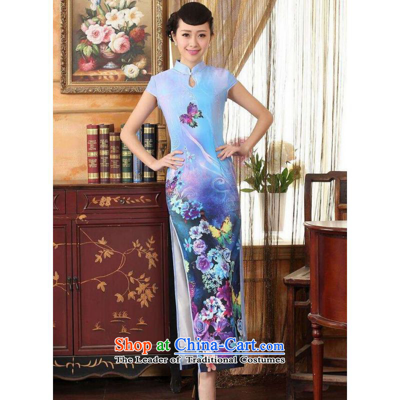 On Optimizing Options, Tang dynasty qipao Doi Fong water droplets collar short-sleeve long double qipao Sau San light blue 2XL
