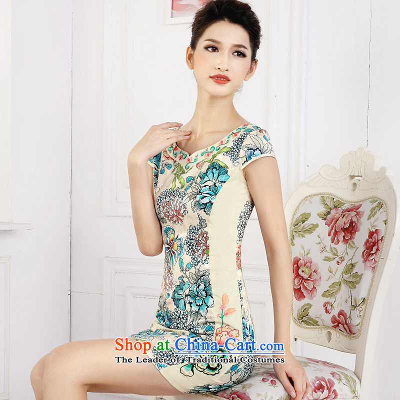 In accordance with the American female's short skirt retro stamp improvement of qipao embroidery flower girl LYE66610 qipao green XL