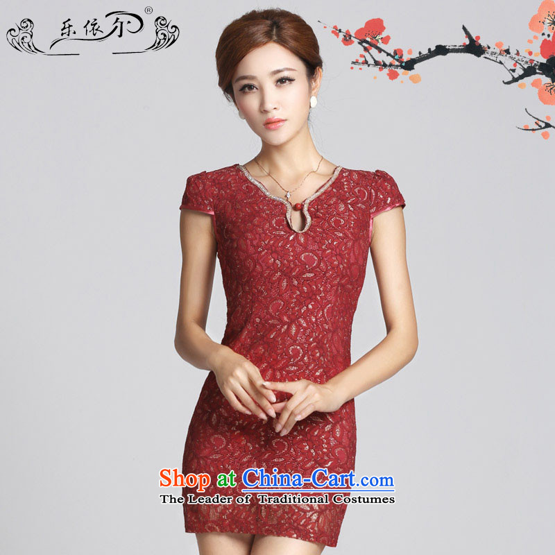 In accordance with the American's new lace female white short of Qipao cheongsam dress Sau San?LYE66612 female?red?XL