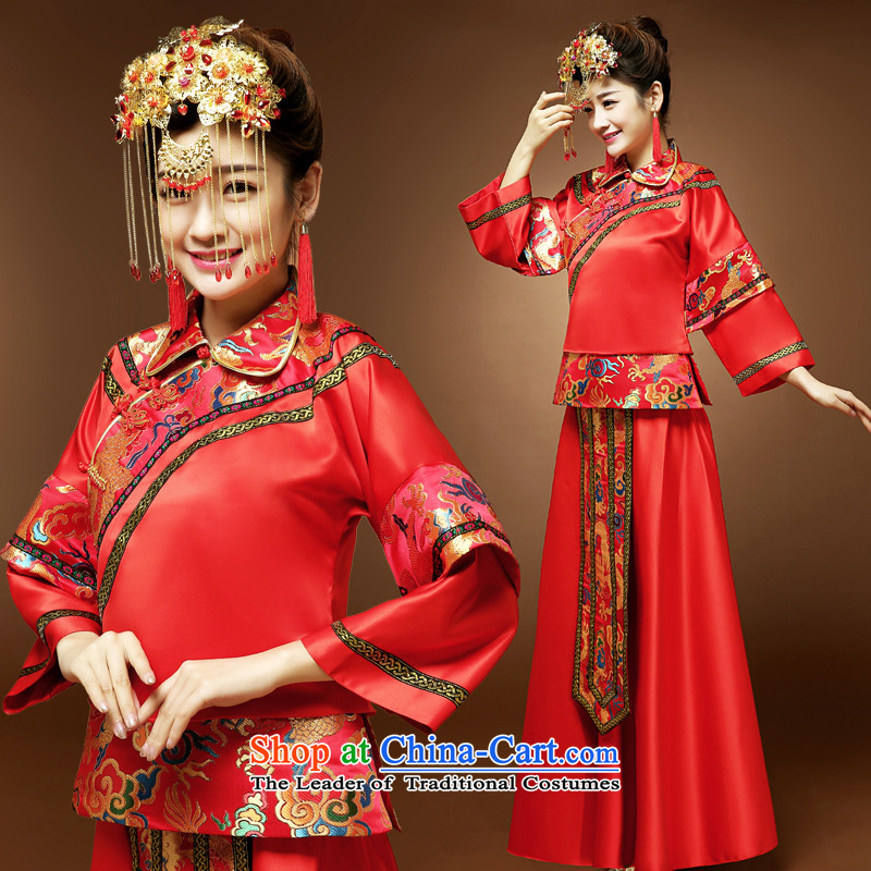 Fall/Winter Collections Of Chinese marriage Soo-wo service Tang Dynasty Show kimono gown bride wedding dress cheongsam dress bows services red�L