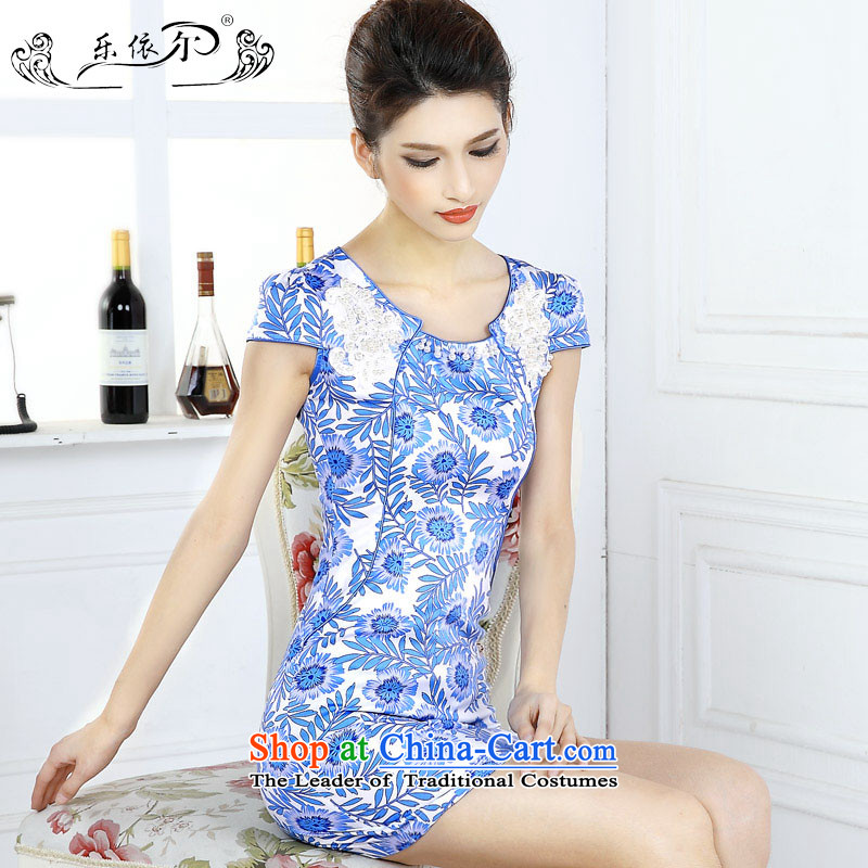 In accordance with the American female, porcelain cheongsam dress spring female qipao short-sleeved?LYE66617?porcelain?M