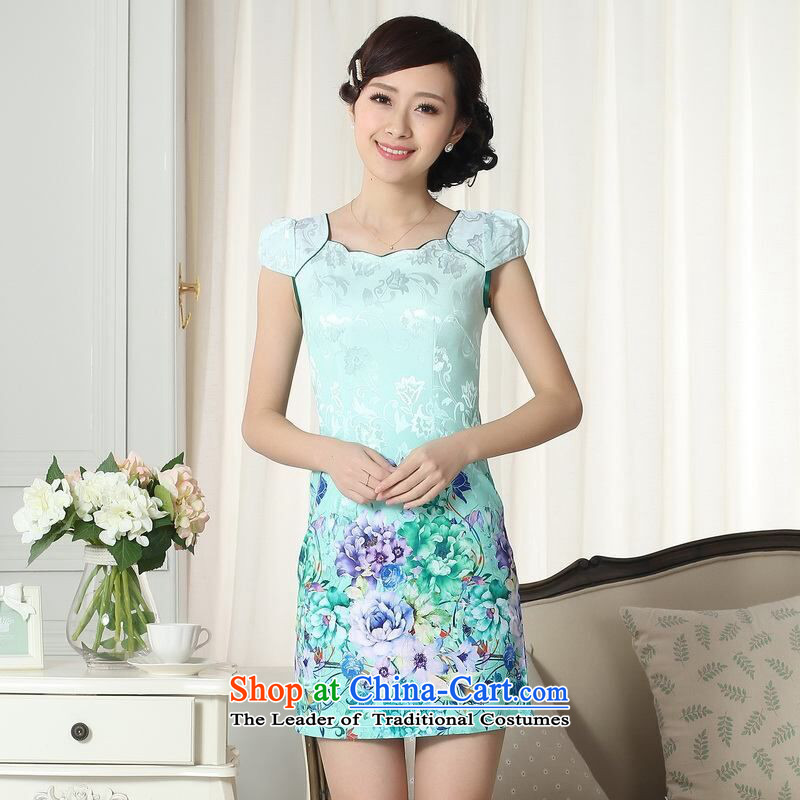 158 Jing gentlewoman stylish cotton jacquard cheongsam dress short Sau San new improved cheongsam dress photo color?2XL