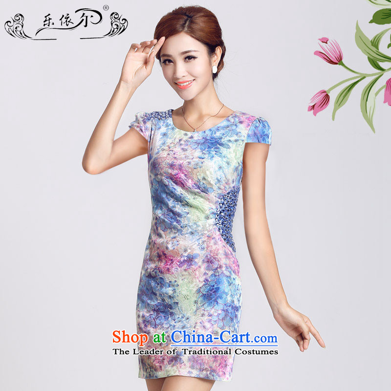 In accordance with the American's summer short-sleeved cheongsam dress Sau San package and female-to-day lady short qipao?LYE66622?BLUE?XL