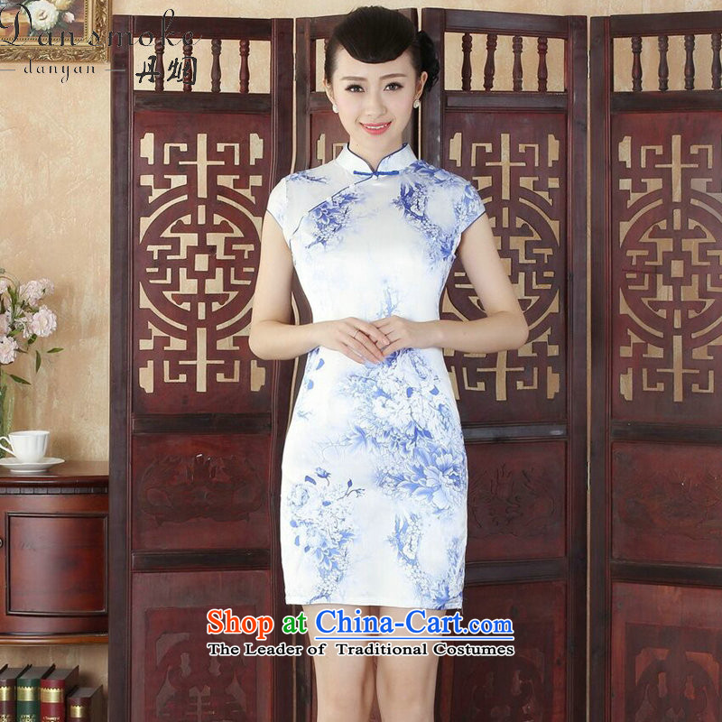Dan smoke qipao summer new Tang Dynasty Chinese Women's improved collar stamp cheongsam dress is cut qipao figure color燤