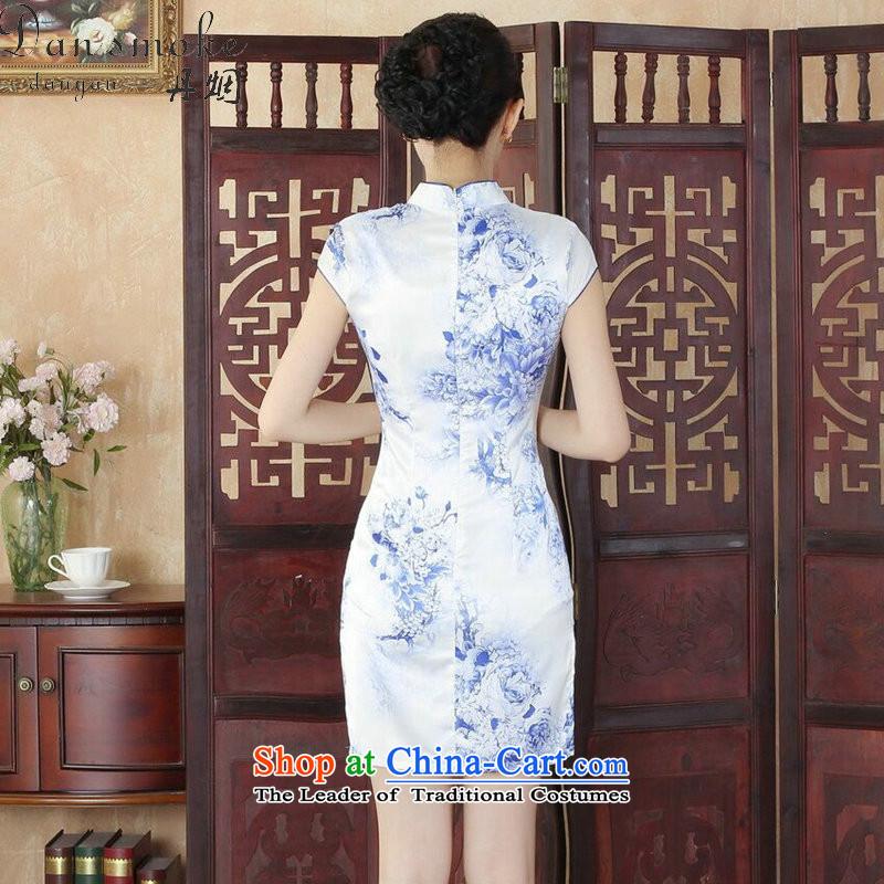 Dan smoke qipao summer new Tang Dynasty Chinese Women's improved collar stamp cheongsam dress is cut, such as map color聽M, qipao Dan Smoke , , , shopping on the Internet