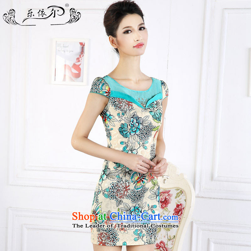 In accordance with the American female's retro stamp short spring qipao new short-sleeve female cheongsam dress LYE66627 GREEN XL