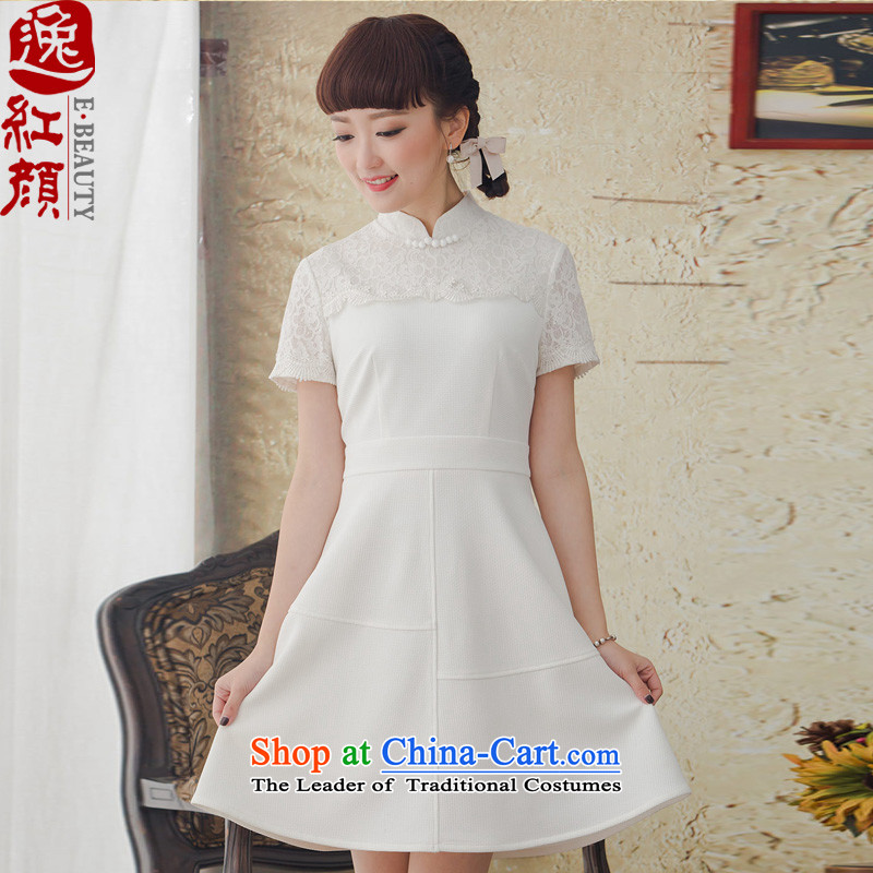 A Pinwheel Without Wind Yat White Rose ethnic women Antique Lace white short-sleeved dresses Spring/Summer 2015 new white�L
