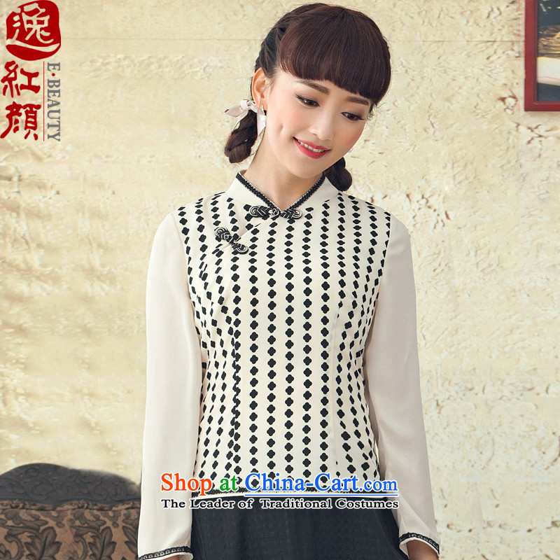 A Pinwheel Without Wind Fong Chi Yat Chinese long-sleeved Tang dynasty during the spring and autumn of ethnic women retro new stamp qipao shirt White?M 4 month after 13 shipments