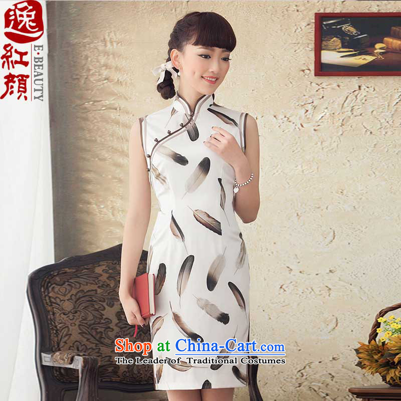 A Pinwheel Without Wind Valley Yu Chun Yat load new stamp Silk Cheongsam Stylish retro improved short cheongsam dress summer White聽XL made after 2 5