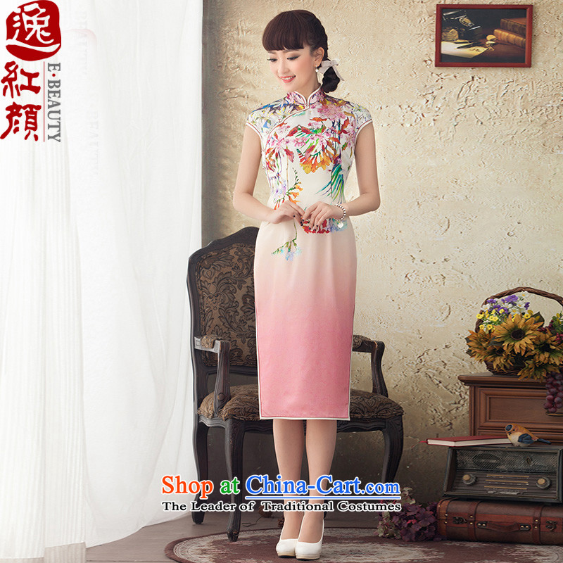 A Pinwheel Without Wind Red Window?2015 Yat spring and summer in New long silk cheongsam dress improved stylish stamp dresses RED?M