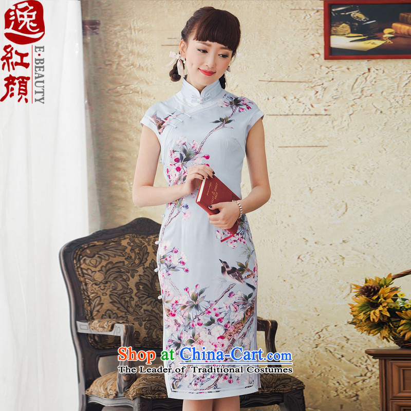 A Pinwheel Without Wind Flower trough Yat spring and summer load new long Silk Cheongsam improvements stamp retro daily cheongsam dress blue聽XL