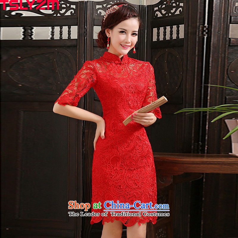 Toasting champagne tslyzm qipao skirt improved bride services wedding gown length of autumn and winter 2015 new lace Sau San video thin retro chinese women serving the lift mast in short-sleeved red (C M