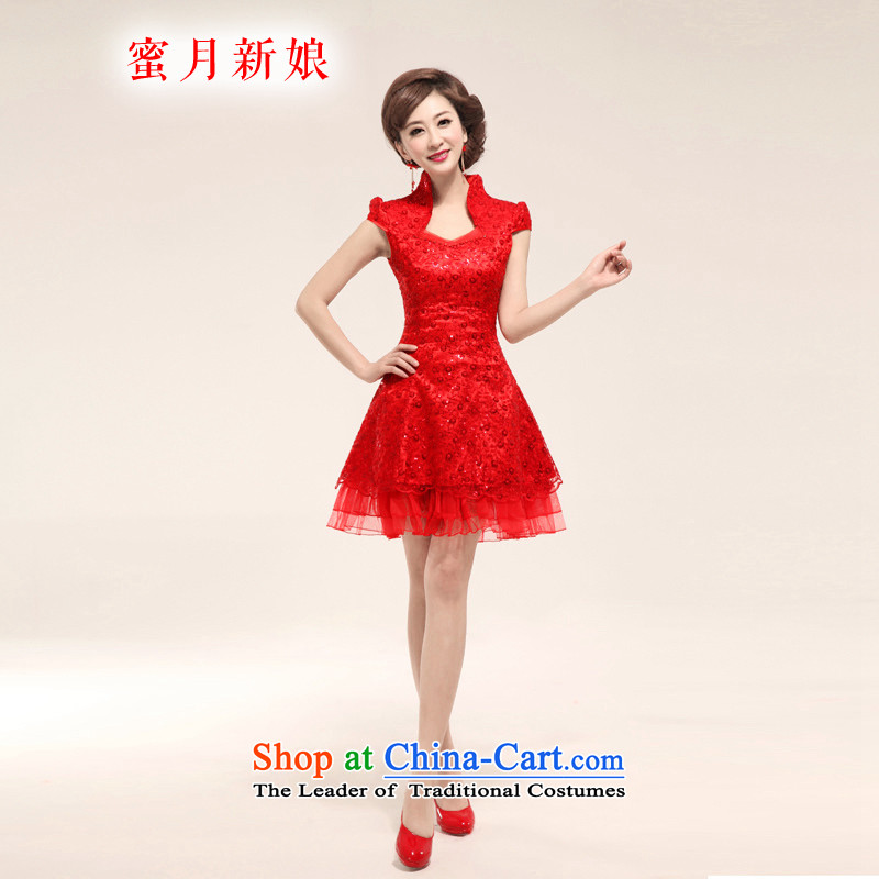 Honeymoon bride 2015 new bride short of Qipao summer improved qipao bows Services Red Sau San qipao summer RED聽M