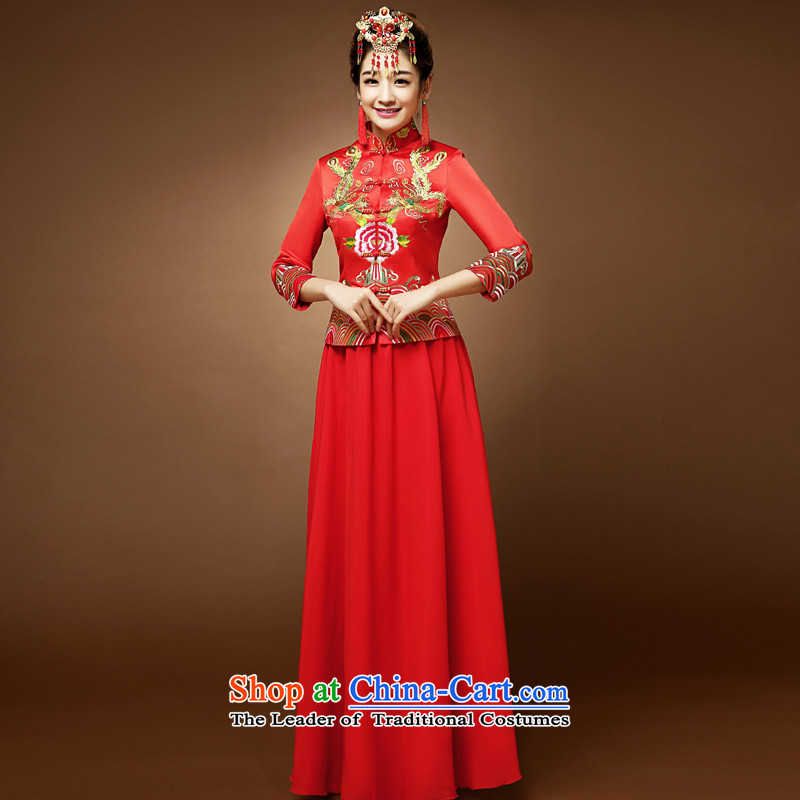 The privilege of serving-leung 2015 new red bride wedding wedding dress up of Chinese 7 cuff qipao bows services red燬