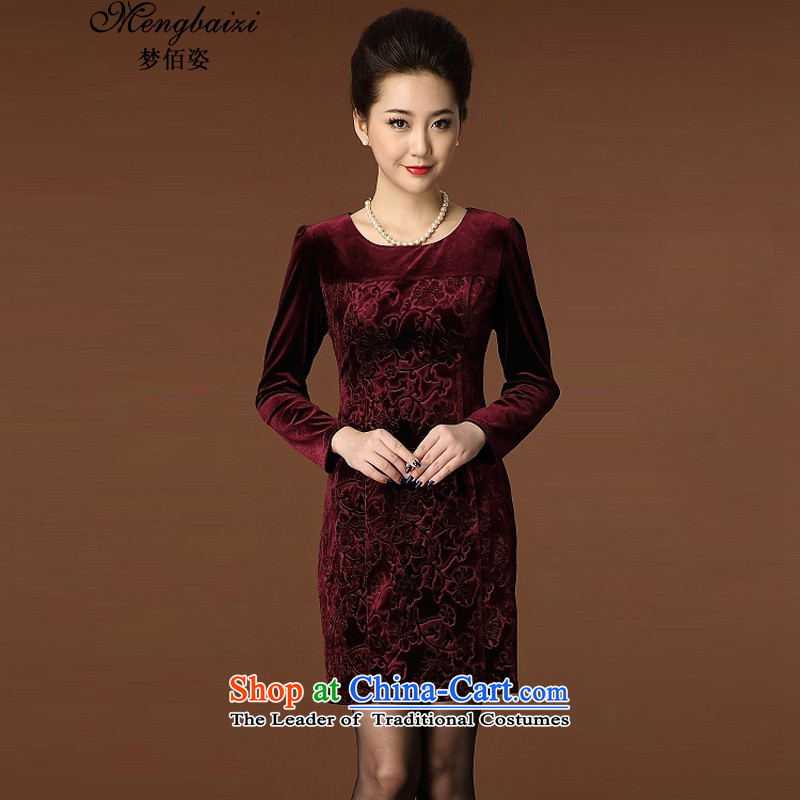 Gigi Lai Bai 2015 new dreams of the elderly in the skirt large graphics thin temperament round-neck collar long-sleeved Kim scouring pads wine red XXXL QP942_ Cheongsam