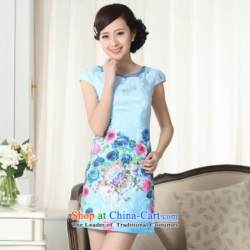158 Jing new summer elegance Tang dynasty qipao improved graphics thin short cheongsam picture color聽2XL