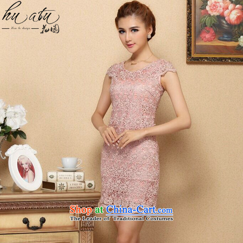 Figure for summer flowers female new stylish Western qipao water-soluble lace improved cheongsam dress engraving sexy dresses qipao燰-NECK燣