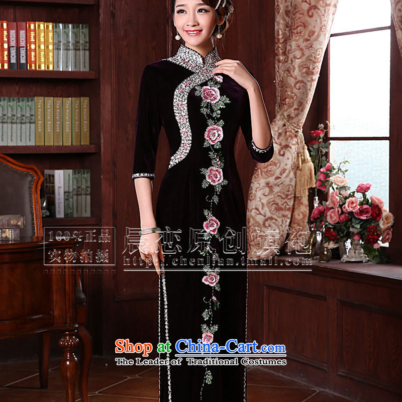 Morning spring and autumn 2015 new land improvement in the retro cuff stylish manually staple pearl luxury cashmere cheongsam dress in purple long-sleeved聽XL