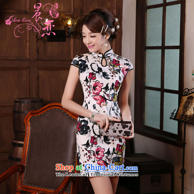 Land 2015 summer morning new Stylish retro short of improved cheongsam dress Chinese Daily,red XXL