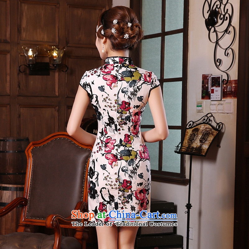 Land 2015 summer morning new Stylish retro short of improved cheongsam dress Chinese Daily,red聽XXL, morning land has been pressed shopping on the Internet
