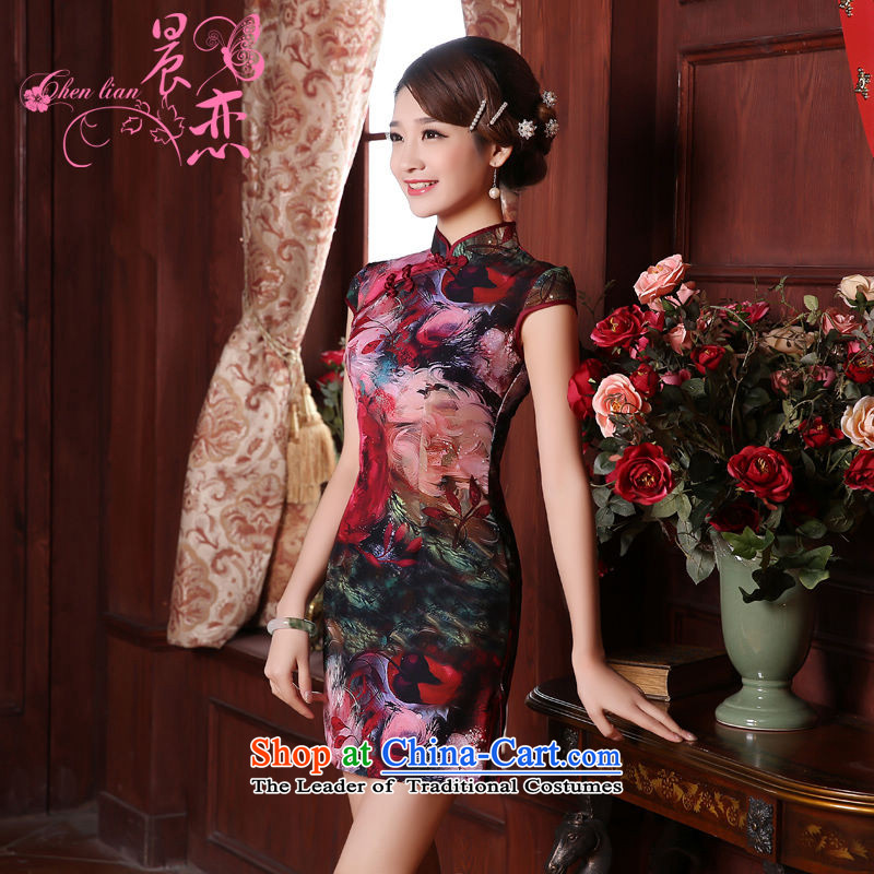 Morning new qipao land 2015 summer short of improvement and Stylish retro herbs extract silk CHINESE CHEONGSAM floral 155/S Purple