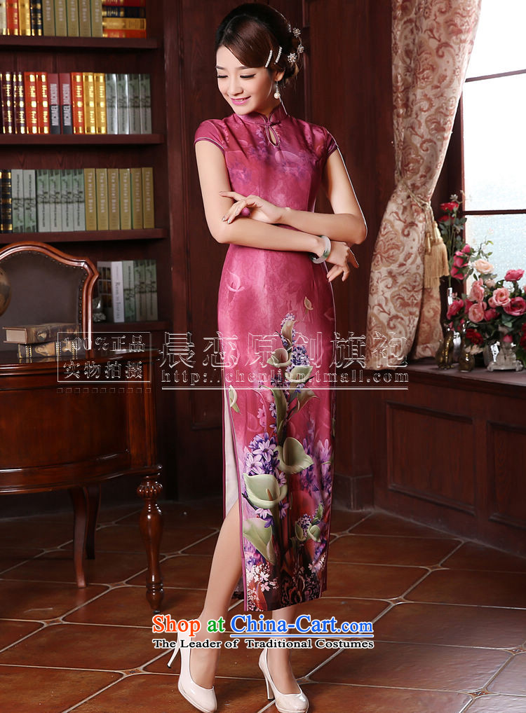 Morning new qipao Land summer retro long improved stylish herbs extract silk Chinese cheongsam dress in red in the red聽L picture, prices, brand platters! The elections are supplied in the national character of distribution, so action, buy now enjoy more preferential! As soon as possible.