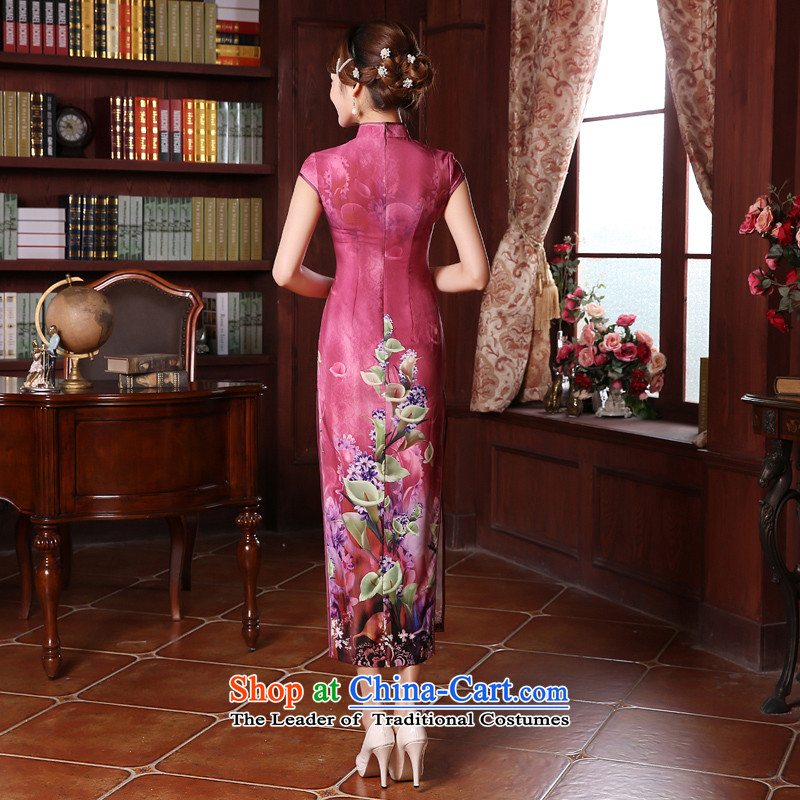 Morning new qipao Land summer retro long improved stylish herbs extract silk Chinese cheongsam dress in red in the red聽, L, morning land has been pressed shopping on the Internet