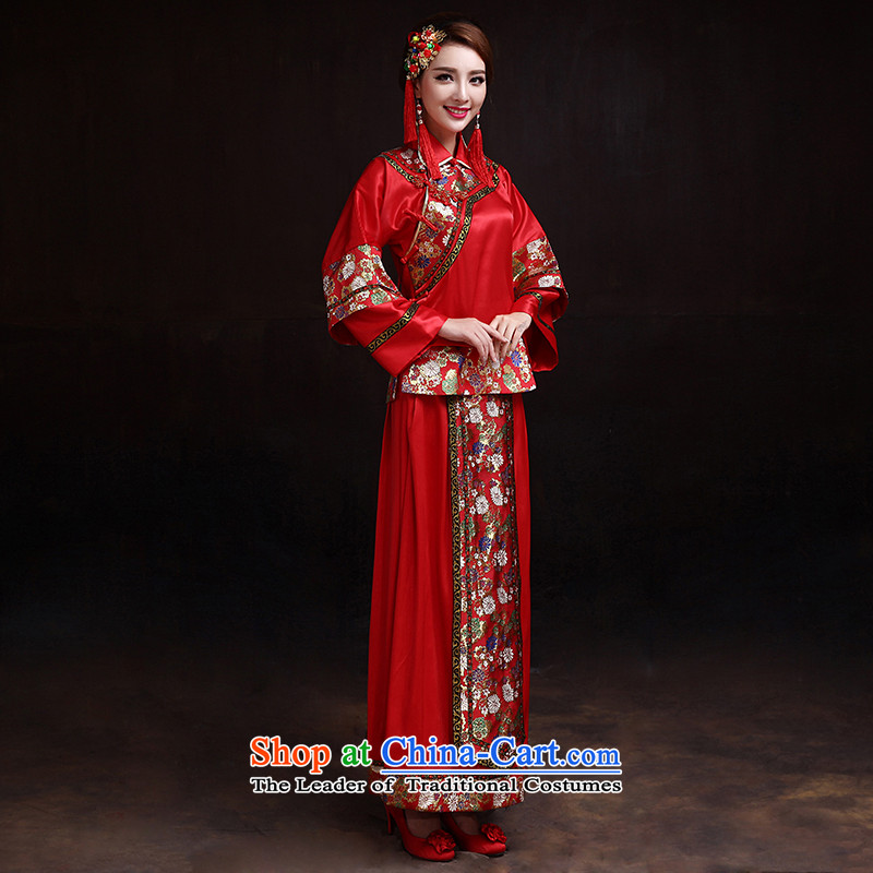 The dumping of the wedding dress Soo-wo service bridal dresses red Chinese Antique bows to marry Miss Cyd kimono large red pregnant women S
