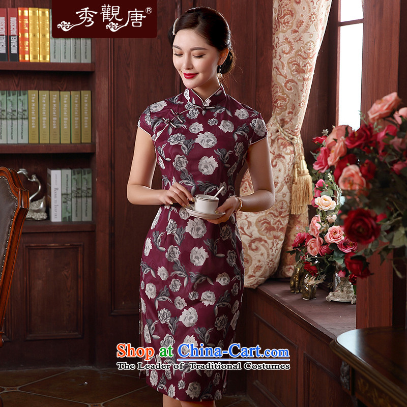 -Sau Kwun Tong- of the edge of the new 2015 3D digital printing improved Stylish retro cheongsam dress temperament and stylish qipao summer QD5126 wine red聽M