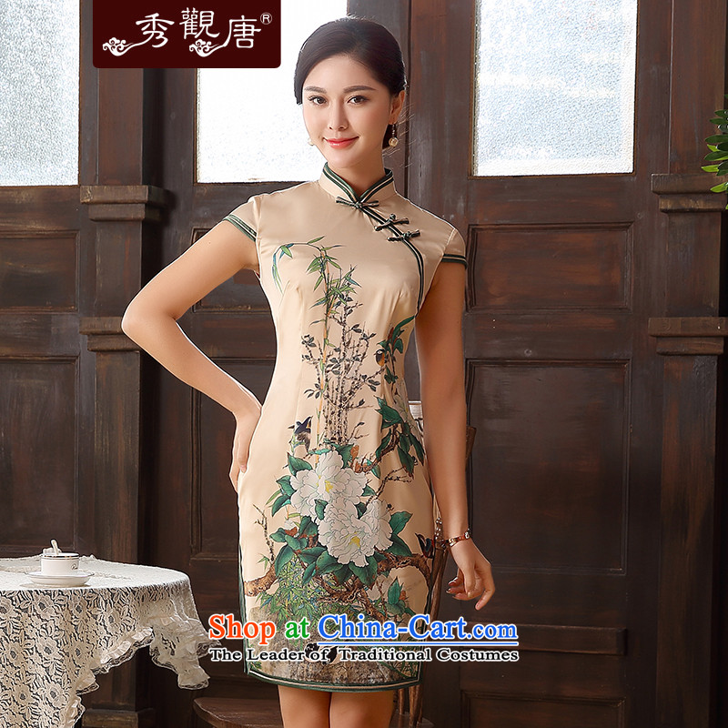 -Sau Kwun Tong- of 2015 new stamp Arabic retro qipao summer improved women's dresses QD5127 SUIT聽XXL