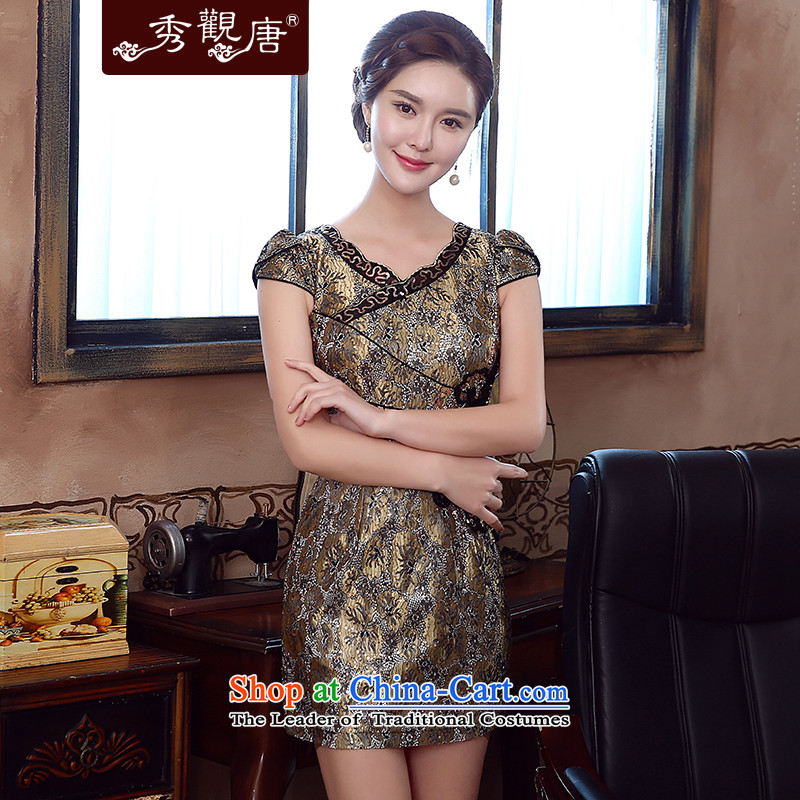 -Sau Kwun Tong- Kim Chan-temperament and sexy lace skirt for summer 2015 new retro cheongsam dress KD5157 GOLD燬