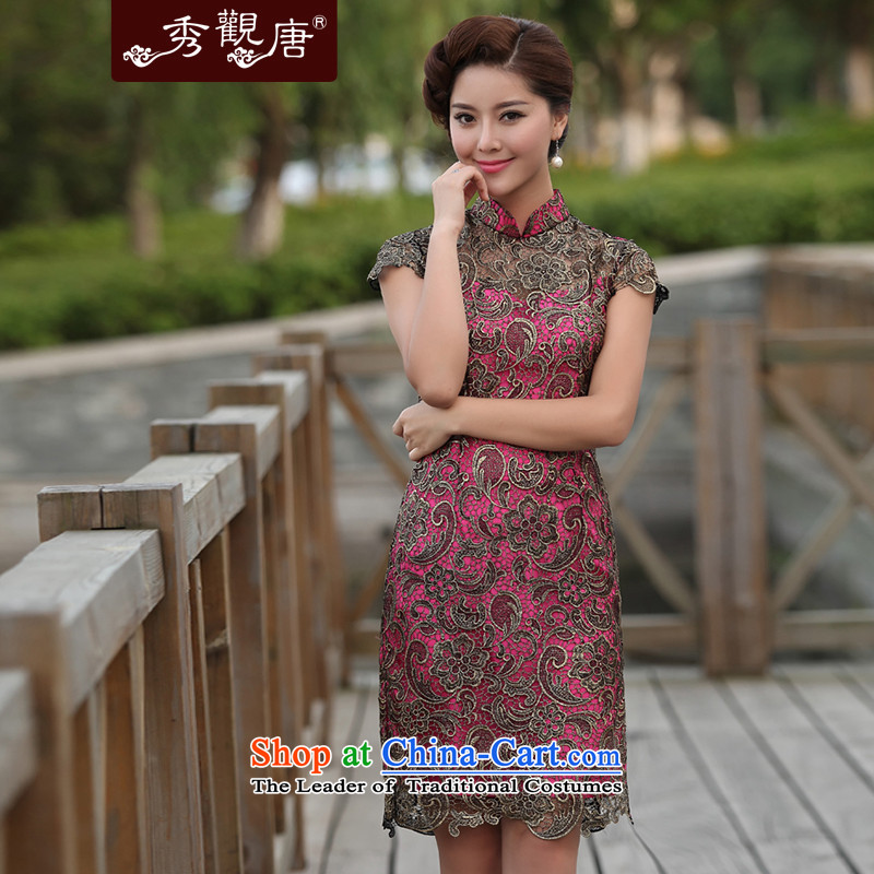 Sau Kwun Tong whimsical laugh lace cheongsam dress retro style for summer 2015 Sau San mother dresses G13639 RED XXL